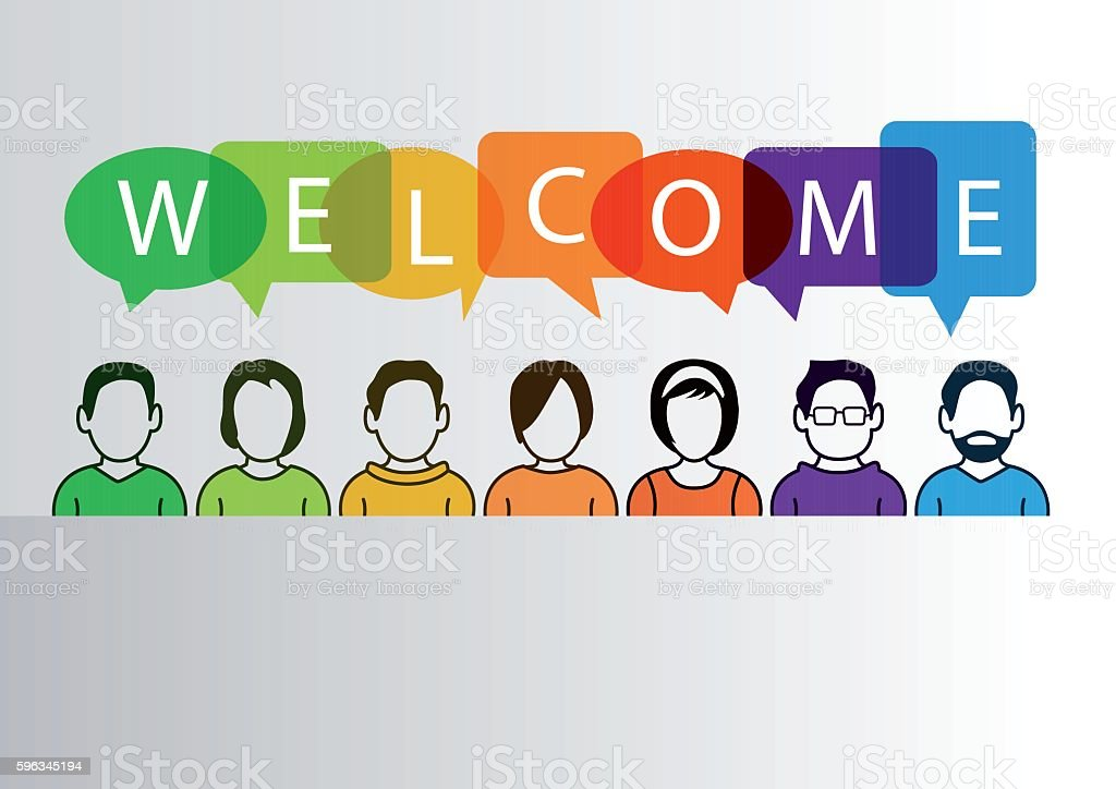 Colorful welcome background with simplified cartoon characters royalty-free colorful welcome background with simplified cartoon characters stock vector art & more images of abstract