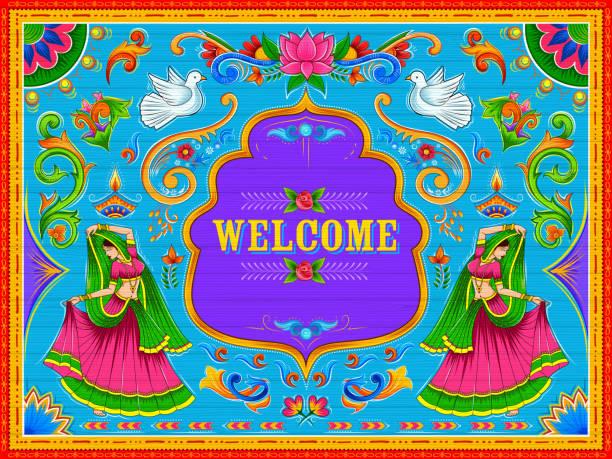 stockillustraties, clipart, cartoons en iconen met kleurrijke welkom banner in vrachtwagen kunst kitsch stijl van india - indiase cultuur