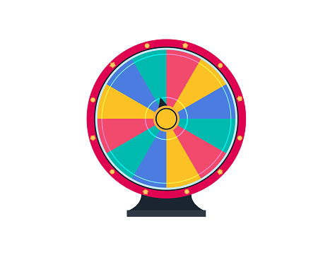 Colorful wheel of luck. Spinning fortune wheel, las vegas, prize. Lottery luck wheel of fortune design.