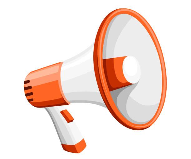 bunte weiße megaphone. megaphon zur verstärkung der stimme für proteste rallyes oder öffentlich zu sprechen. vektor-illustration isoliert auf weißem hintergrund. webseite und design der mobile app - megaphone stock-grafiken, -clipart, -cartoons und -symbole