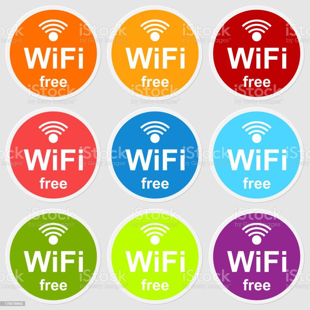 カラフルなアイコンビジネスのお客様には無料の wi fi のイラスト素材