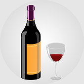 3D Colorful wine bottle and glass vector