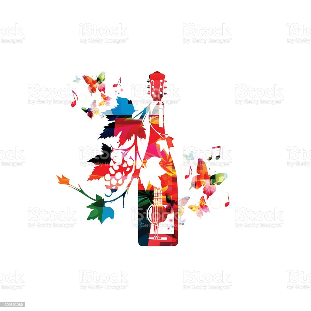 Colorful winebottle with vines vector art illustration