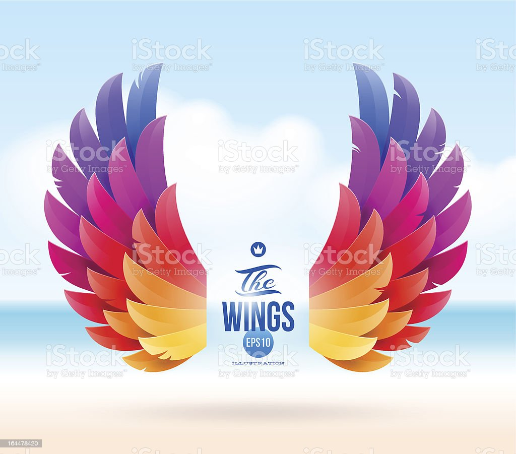 Colorful wings on a tropical sea shore vector art illustration