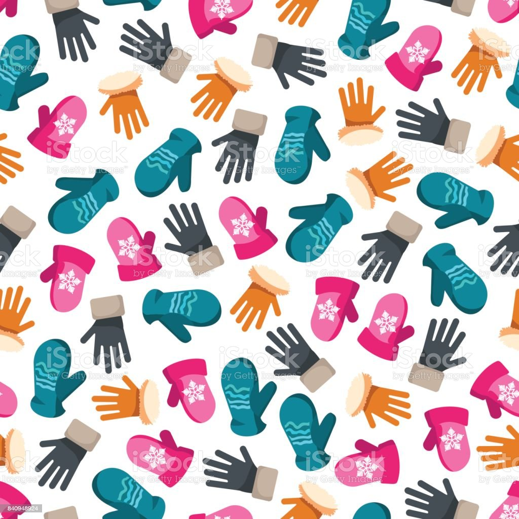 Colorful winter mittens seamless pattern vector art illustration