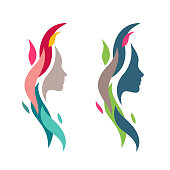 Colorful Woman Face with Waves. Abstract Female Head Silhouette for Icons Elements. Nature Cosmetics Symbol Concept.