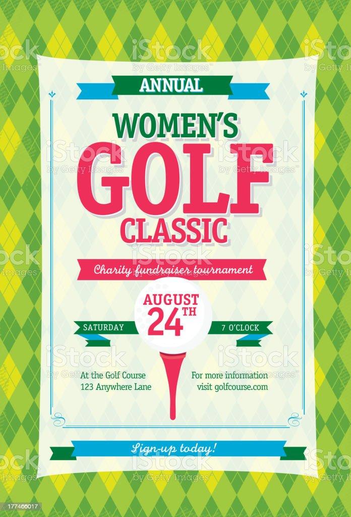 Colorful Women's Golf tournament invitation design template on argyle background vector art illustration
