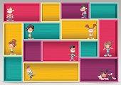Colorful wood shelf with happy cartoon children