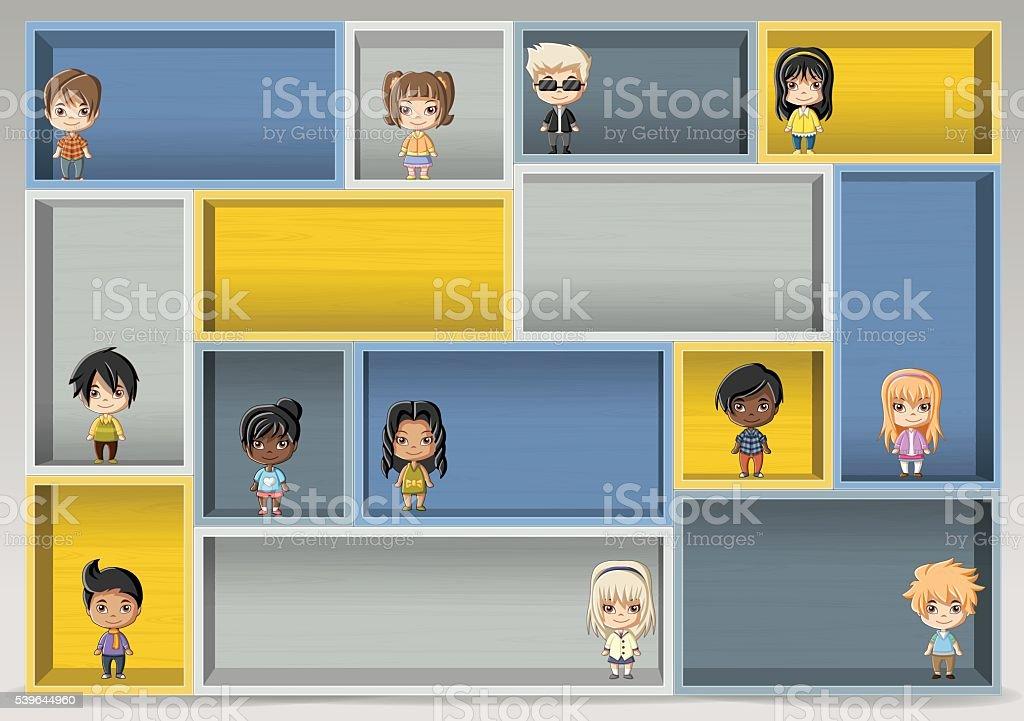 Kolorowe Drewniane Półki Z Szczęśliwy Kreskówka Dzieci