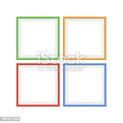 Colorful Wooden Frames Stock Vector Art & More Images of Archival ...