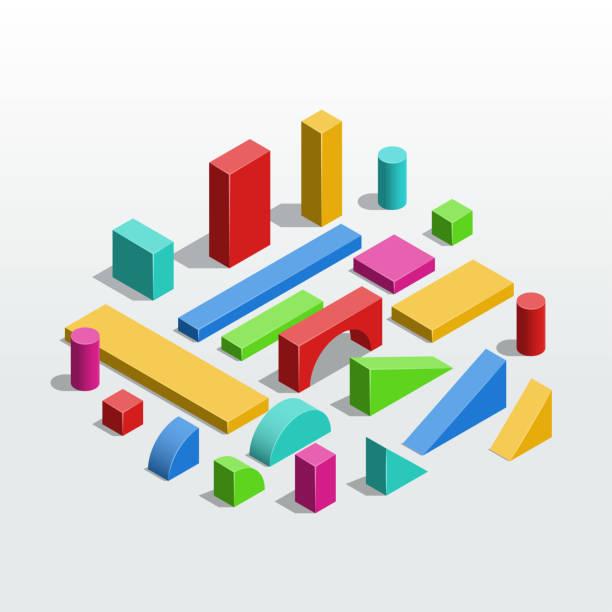 stockillustraties, clipart, cartoons en iconen met kleurrijke houten eenheidsblokken - speelgoed voor kinderen. isometrische vectorillustratie - blok vorm