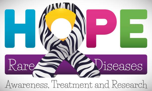 ilustrações de stock, clip art, desenhos animados e ícones de colorful word hope with striped ribbon to commemorate rare disease - hope