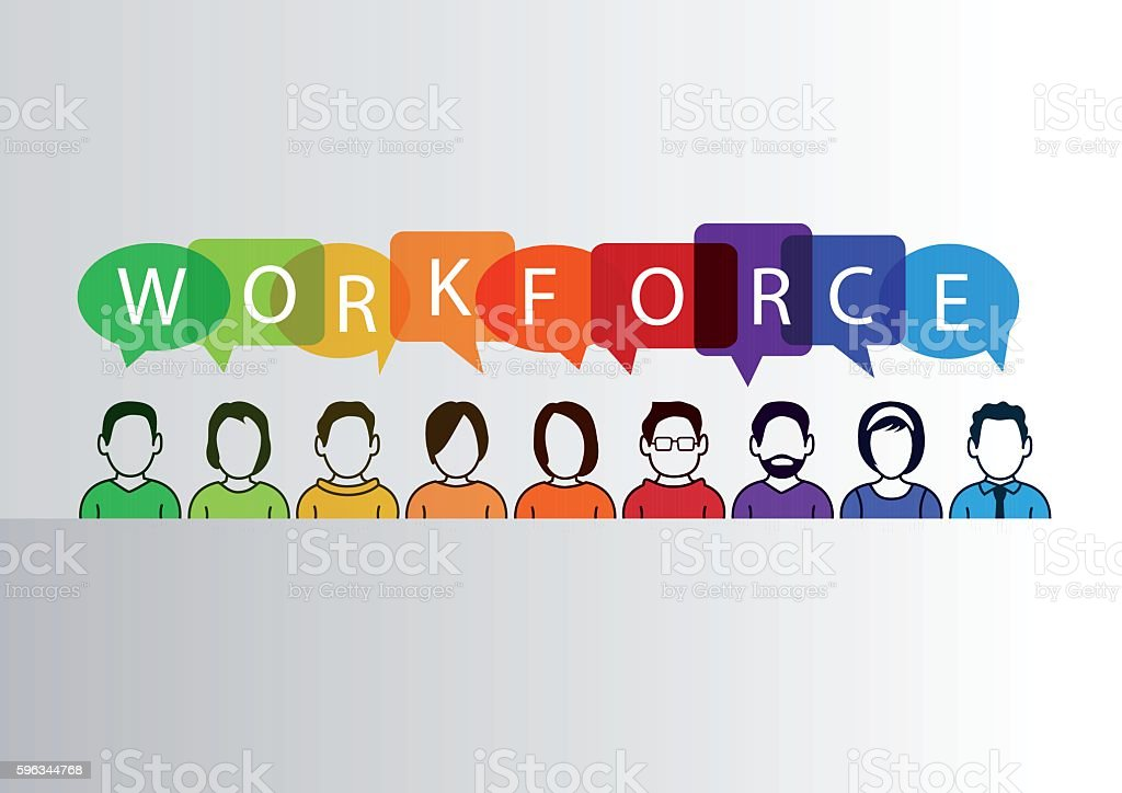 Colorful workforce infographic as vector illustration with group of people Lizenzfreies colorful workforce infographic as vector illustration with group of people stock vektor art und mehr bilder von abstrakt