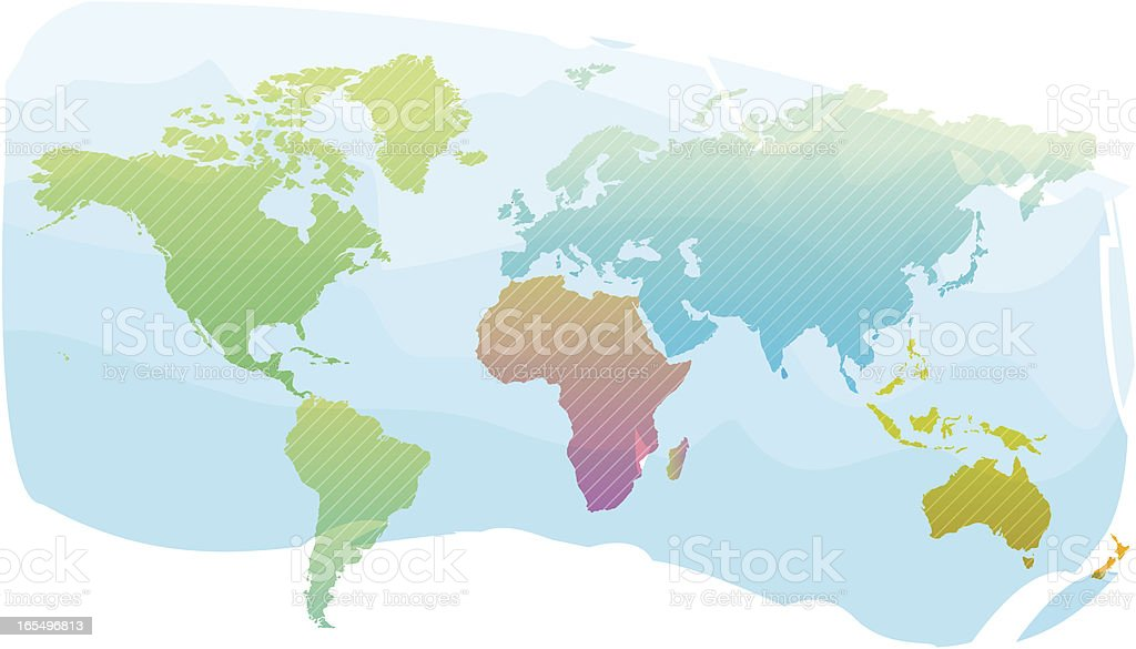 Colorful world map background royalty-free stock vector art