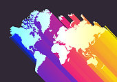 Abstract colorful perspective world map background. High resolution jpeg file included (300dpi).