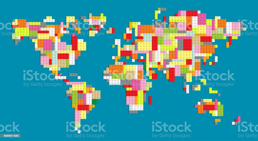 Colorful world map with building block bricks stock vector art colorful world map with building block bricks royalty free colorful world map with building block gumiabroncs Gallery