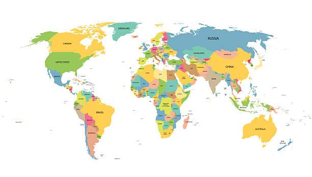 ilustraciones, imágenes clip art, dibujos animados e iconos de stock de colorido mapa mundial con los nombres de todos los países - político