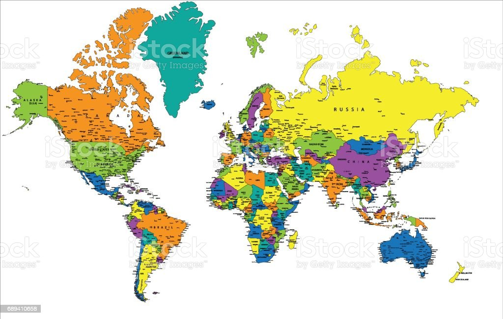 Colorful world political map with clearly labeled separated layers colorful world political map with clearly labeled separated layers vector illustration royalty gumiabroncs Choice Image