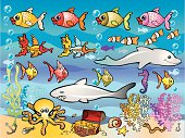 Colorful saltwater world. Each item grouped separately.