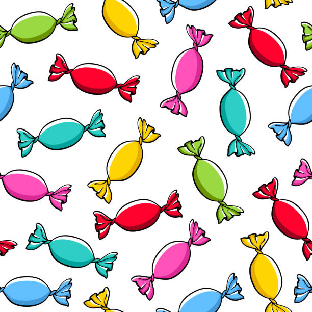 Colorful wrapped candies background Colorful wrapped candies seamless background vector illustration. Hand drawn doodle sketch. candy clipart stock illustrations