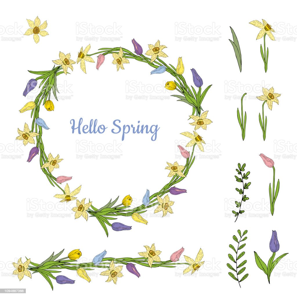Colorful wreath from various spring flowers. Object isolated on a...