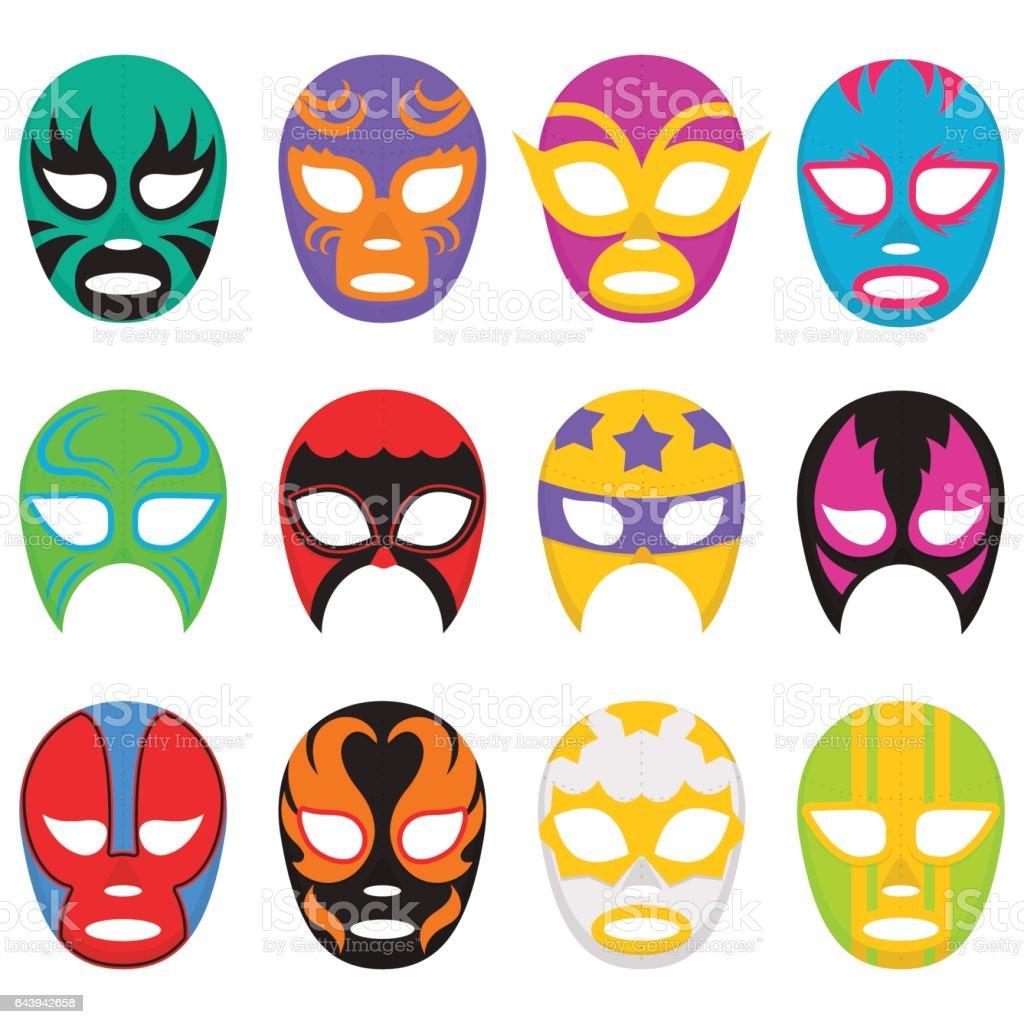 Colorful Wrestling Mask Collection vector art illustration