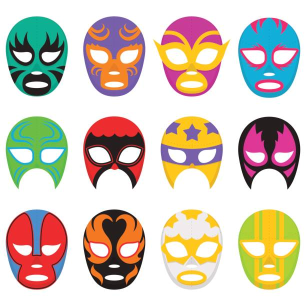 ilustraciones, imágenes clip art, dibujos animados e iconos de stock de colorful wrestling mask collection - lucha