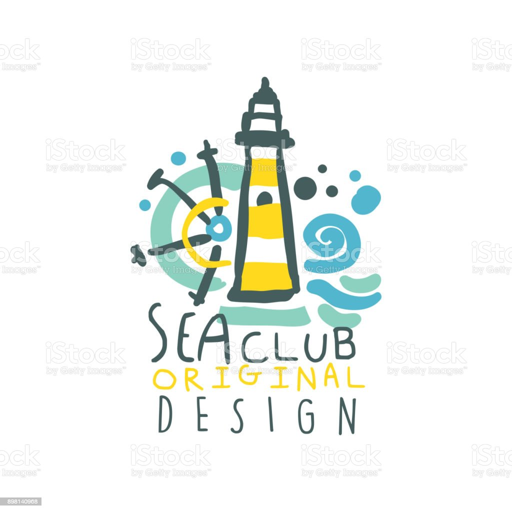 Colorful yacht or sea club symbol design with lighthouse ship colorful yacht or sea club symbol design with lighthouse ship steering wheel and waves buycottarizona
