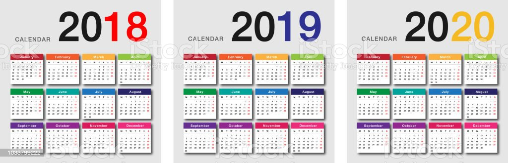 Calendario 2020 Orizzontale.Colorful Year 2018 And Year 2019 And Year 2020 Calendar