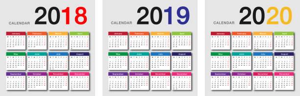 stockillustraties, clipart, cartoons en iconen met kleurrijke jaar 2018 en 2019 van het jaar en jaar 2020 horizontale vector design kalendersjabloon - 2018