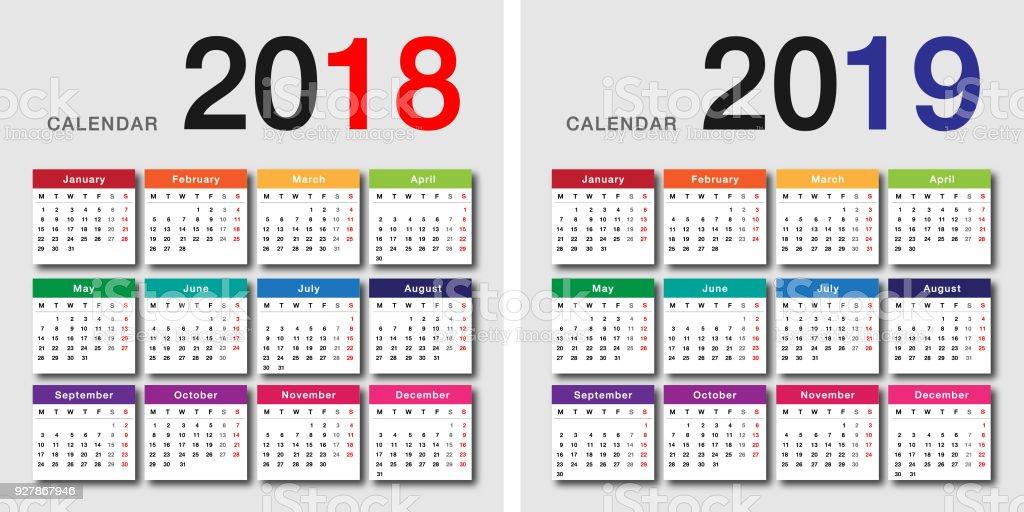 Calendario Financiero 2019.Ilustracion De Colores Ano 2018 Y 2019 Ano Calendario Vector