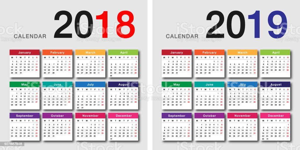 Colorful Year 2018 and Year 2019 calendar horizontal vector design template vector art illustration