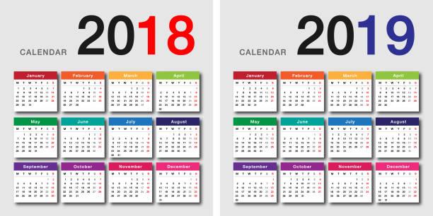 buntes jahr 2018 und 2019 jahr kalender horizontale vektor design-vorlage - monatskalender stock-grafiken, -clipart, -cartoons und -symbole