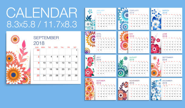 Colorful year 2018  floral  calendar vector template vector art illustration