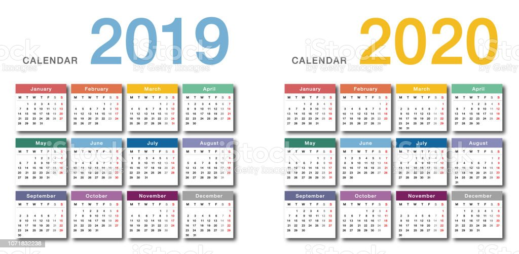 Calendario 2020 2020.Colorful Year 2019 And Year 2020 Calendar Horizontal Vector