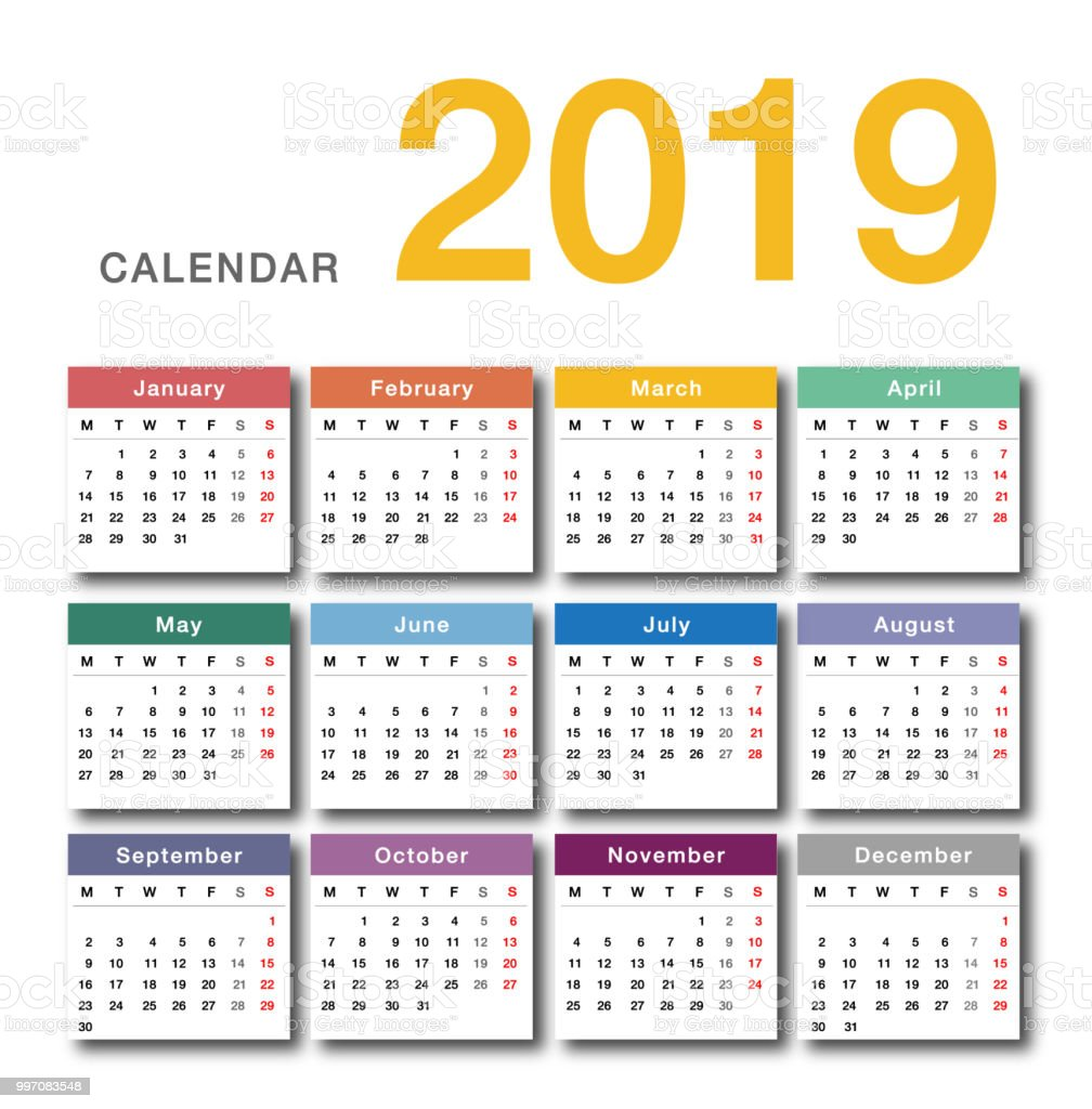 colorful year 2019 calendar horizontal vector design template royalty free colorful year 2019 calendar horizontal