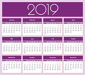 Calendar for 2019 purple background. Simple Vector Template. Isolated illustration.