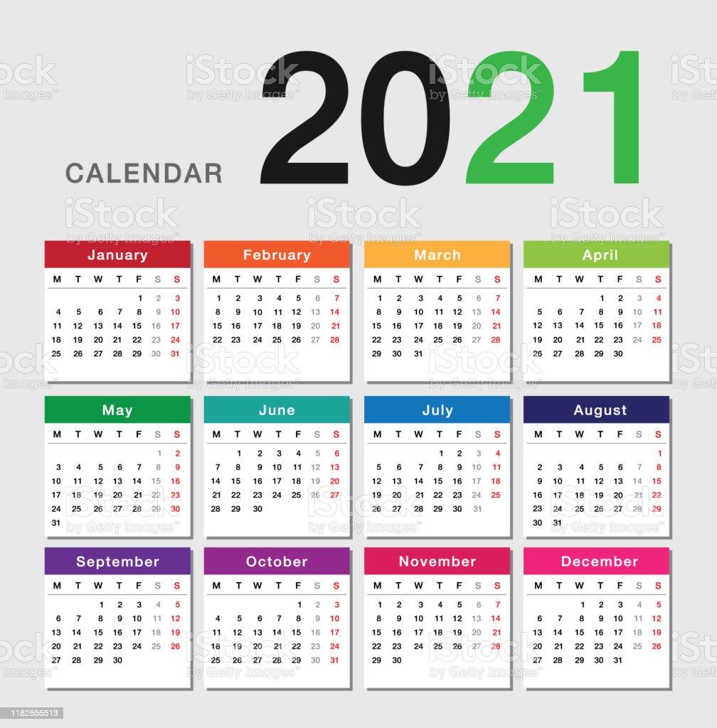 Bunte Jahr 20 Kalender Horizontale Vektordesignvorlage Einfaches ...