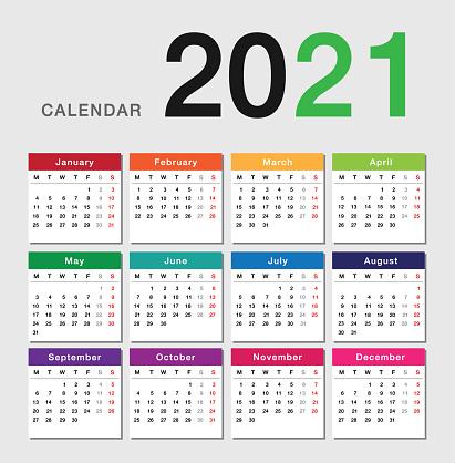 Colorful Year 2021 Calendar Horizontal Vector Design ...