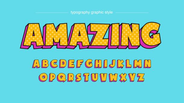 ilustraciones, imágenes clip art, dibujos animados e iconos de stock de colorido amarillo rosa vintage dibujos animados dibujos animados tipografía - tipos de letra de burbujas