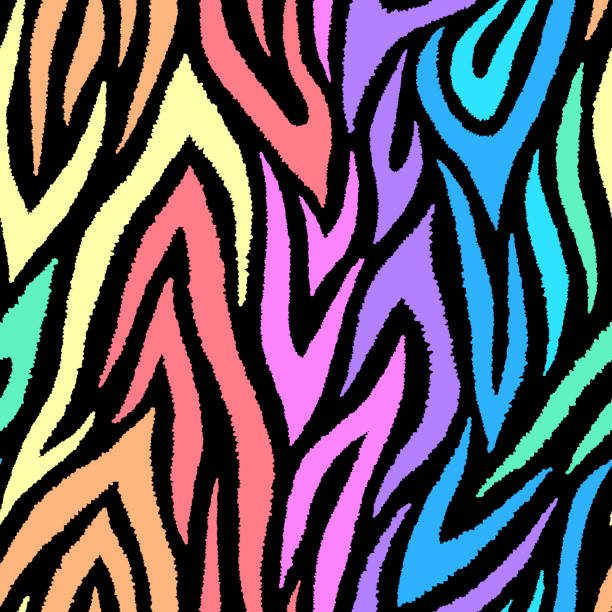 Colorful zebra seamless pattern. Neon rainbow lines isolated on black background. Repeating stripes backdrop. Vector print for fabrics, posters, banners. Colorful zebra seamless pattern. Neon rainbow lines isolated on black background. Repeating stripes backdrop. Vector print for fabrics, posters, banners. animal markings stock illustrations
