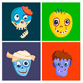 Colorful zombie scary cartoon character cards magic people body part cartoon fun monster vector illustration