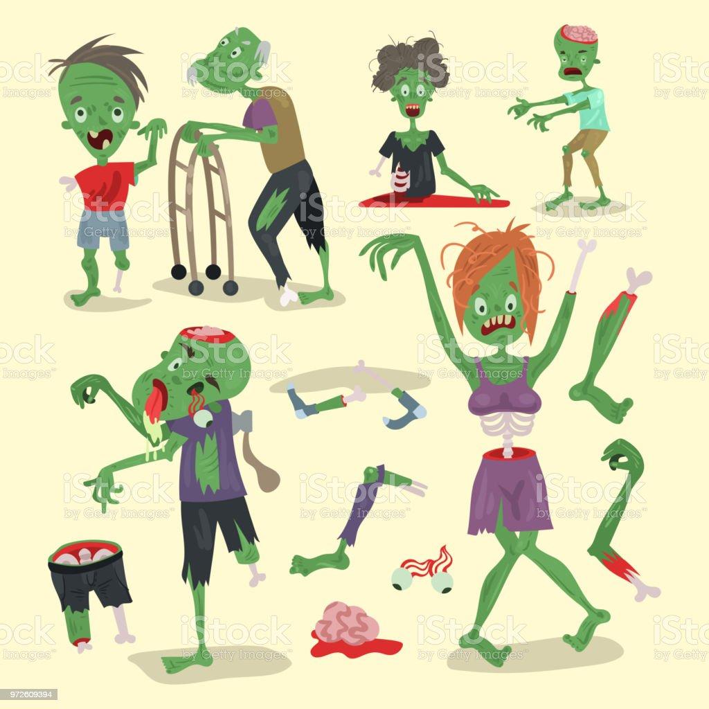 カラフルなゾンビ怖い漫画要素ハロウィーン魔法の人々 ボディ楽しい
