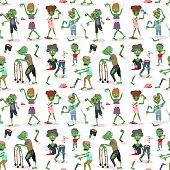 Colorful zombie scary cartoon halloween magic people body green character seamless pattern background part monsters vector illustration