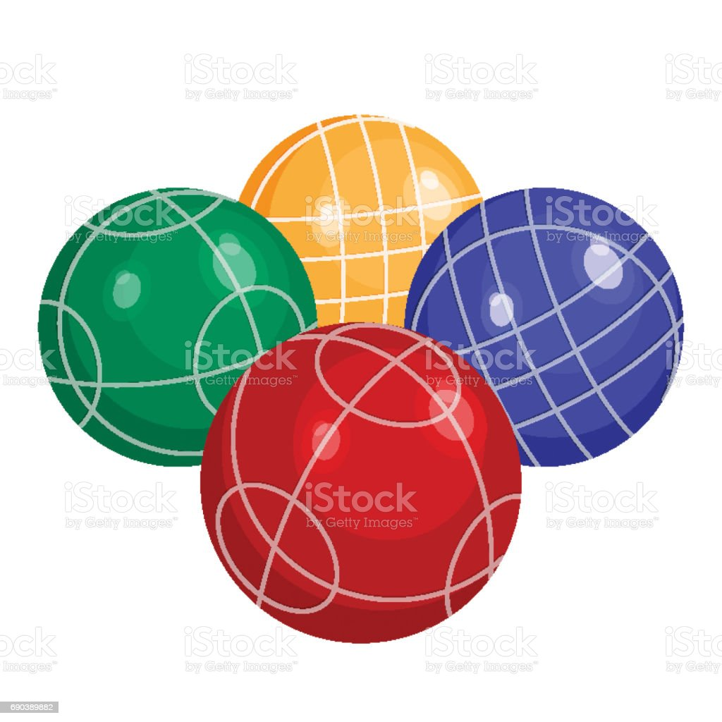 Colorfull bocce balls made of metal or plastic vector vector art illustration