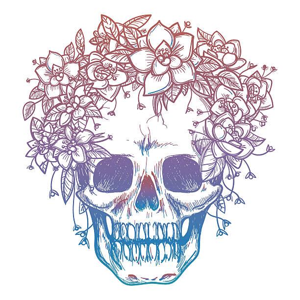Colorfull skull and flower headdress ベクターアートイラスト