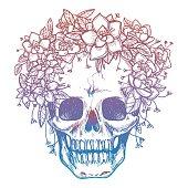 Colorfull skull and flower headdress