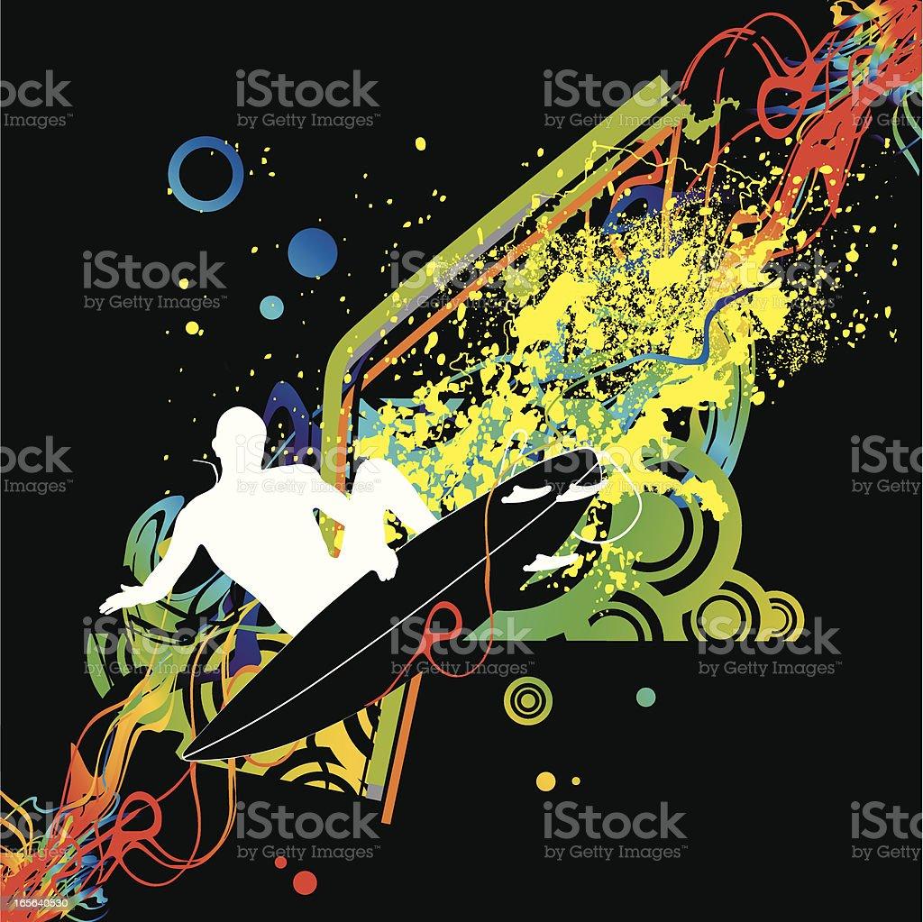 colorfur surfing aerial vector art illustration