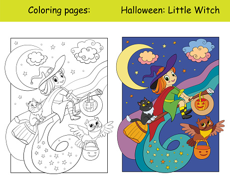 Coloring and colorful Halloween witch flying on a broomstick
