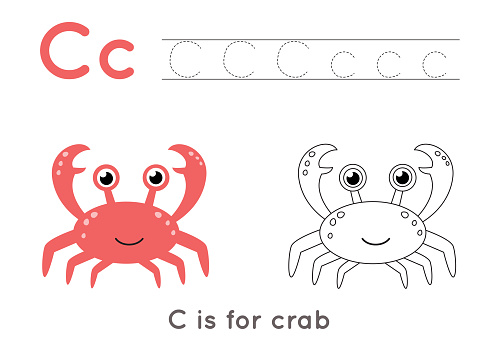Coloring and tracing page with letter C and cute cartoon crab.